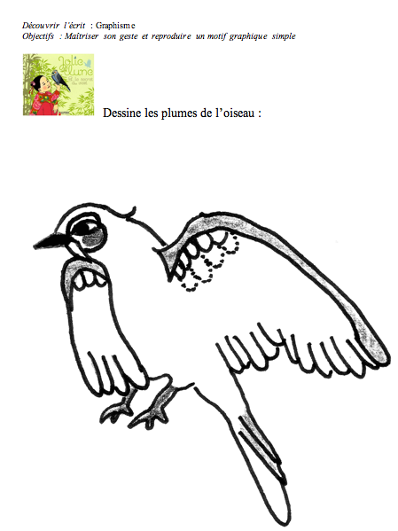 Graphisme les plumes de l oiseau les petits z bres - Dessiner un oiseau en maternelle ...