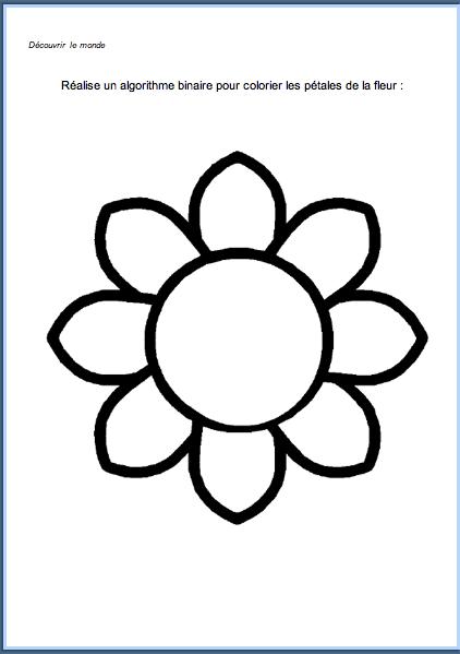 Algorithme binaire pour colorier la fleur les petits z bres - Coloriage fleur 8 petales ...