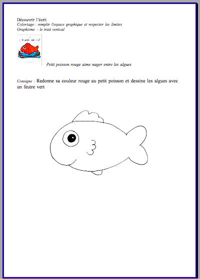 Graphisme nage petit poisson les petits z bres - Le petit poisson rouge maternelle ...