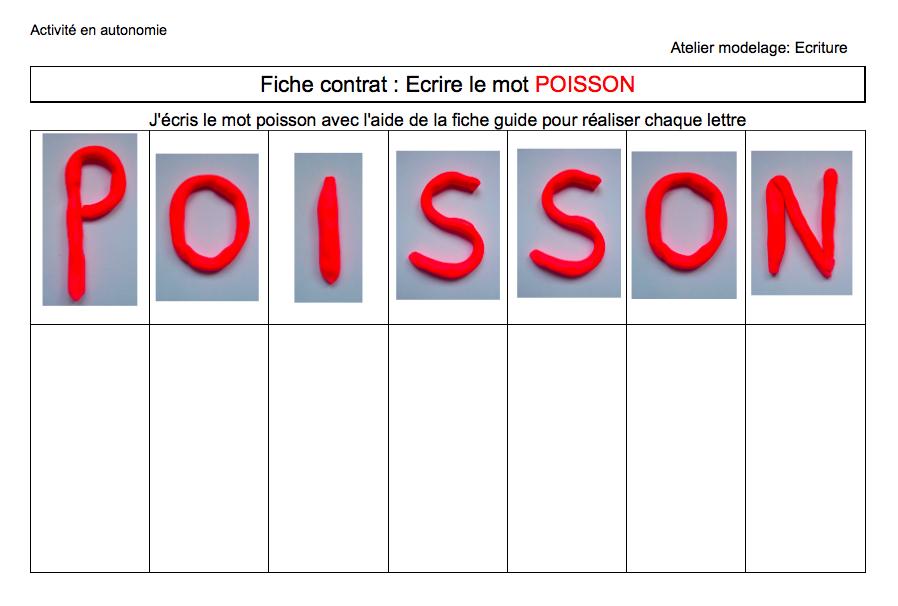 Atelier en autonomie poisson et p te modeler les - Poisson en maternelle ...